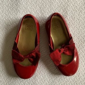 Janie & Jack Toddler Girl Red Bow Flat, Size 7.